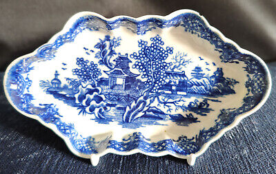 Worcester Blue And White Porcelain Spoon Tray  The Argument  Pattern C1780 • 10.50£