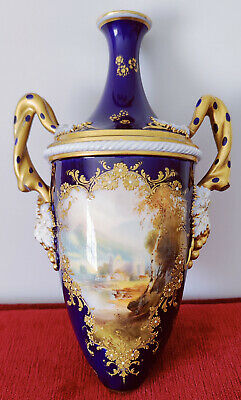Royal Worcester Two Handled Footed Vase Signed By Harry Davis A/f • 25£