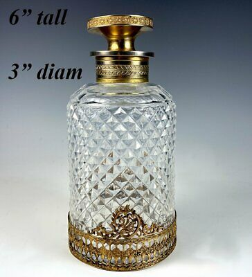 Antique French Baccarat 6  X 3  Cut Crystal Decanter, Scent Bottle, Dore Bronze  • 435.12£