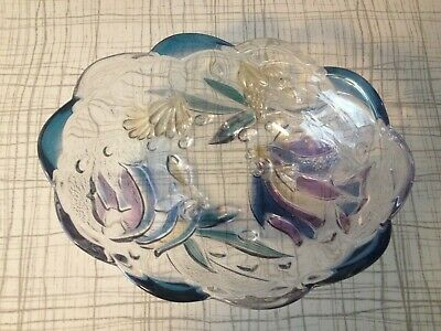 Vintage Glass ROSELLA/WALTHER (?) Pink Blue Dish Raised Floral Design • 16.50£