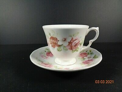 Queen Anne Cup & Saucer Pink Roses Flowers Floral Vintage Beautiful • 4£