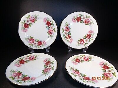 Queen Anne 6 Side Plates Pink Roses Flowers Floral Vintage Beautiful • 6£