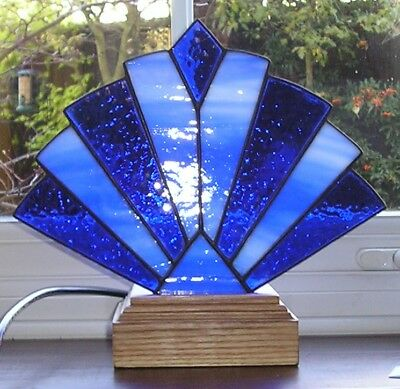 Stained Glass Art Deco Style Fan Lamp / Night Light, Handmade In England • 106£