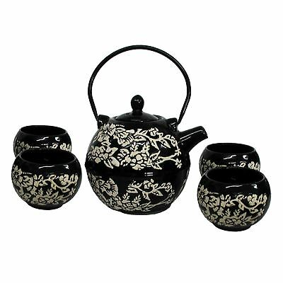 Chinese Tea Set - Gloss Black Ceramic - Round With Floral Pattern • 26.75£