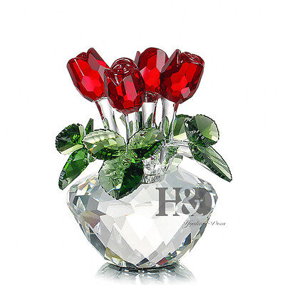 Crystal Cut Glass Flower Figurines Rose Living Room Valentine Gift Ornaments • 23.09£