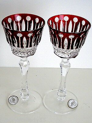AJKA XENIA RUBY RED CASED CUT TO CLEAR CRYSTAL LIQUER WINE GLASS Set Of 2 SIGNED • 105.82£