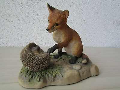 Border Fine Arts Figure Of A Fox Cub & Hedgehog By Ayres 1983 Scotland • 18.95£