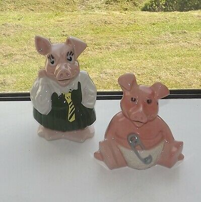 Wade Pig Moneyboxes. Annabel And Woody With Stoppers • 9£