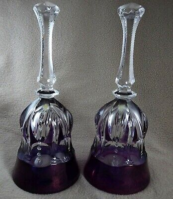 Pair Of Cut Crystal Glass Purple And Clear 8  Bells • 9.99£