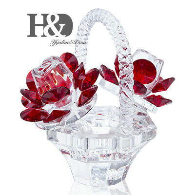 Crystal Roses Figurines Cut Glass Ornaments Paperweight Wedding Decor Lady Gift  • 10.99£