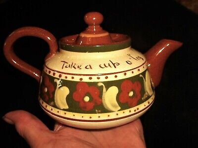 Rare Pattern Devon Torquay Ware Motto Ware Small Teapot Take Cup Refreshing Tea • 22.50£