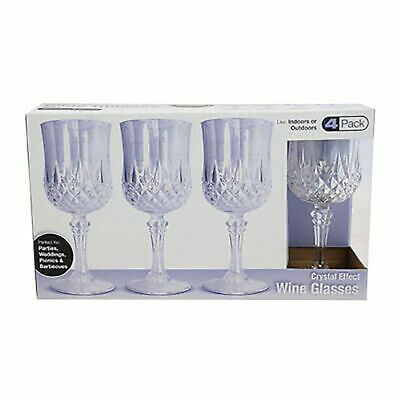 4Pcs Vintage Crystal Wine Glasses Plastic Picnic Marine Acrylic Garden Goblet • 6.82£