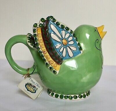 Art Studio Pottery Majolica Bird TeaPot Heather Goldminc 'Butterfly Garden' • 19.99£