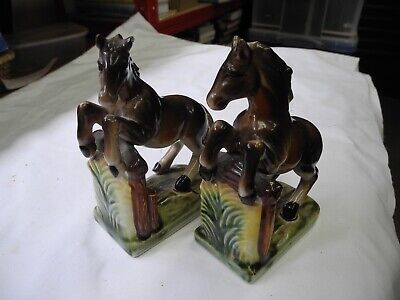 Horse Book Ends - 1950s Ceramic Figures 6.5  • 14£