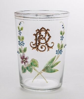 Antique Victorian/Edwardian Glass Tumbler With Hand Painted Enamel Flowers • 28.99£