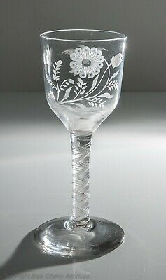 Antique Georgian Opaque Twist Stem Wine Glass Goblet With Jacobite Symbology • 495£