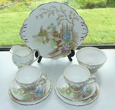 Salisbury Fine China Arcadia Pattern Tea For Two Cups Saucers Plates Milk Sugar  • 38£