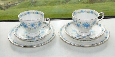 Vintage Tuscan China Rh & SL Plant Love In The Mist 2 X Cups Saucers Plate 1950s • 15£