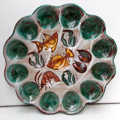 Vintage Retro Vallauris French Hand Painted Master Oyster Seafood Centre Plate! • 65£