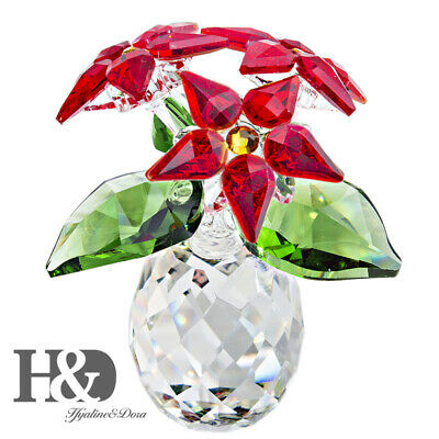 Crystal Small Poinsettia Holiday Ornament Paperweight Wedding Christmas Flowers • 16.05£