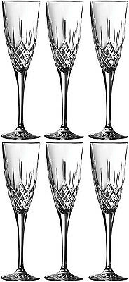 Royal Doulton Crystal Earlswood 6 Champagne Flutes (boxed) - New • 49.99£