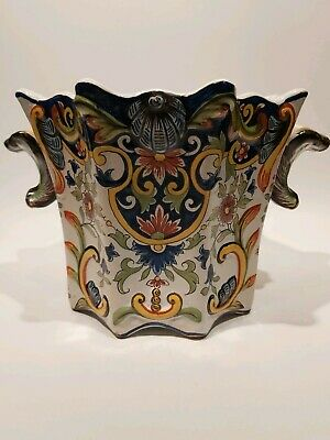 French Antique Faience/Majolica Large Square Planter - Fourmaintraux Desvres • 128£