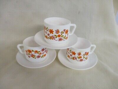 3 Cups & Saucers, Glass, Arcopal France, Scania Pattern, White, Floral Design • 20£
