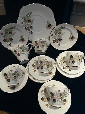 Lovely Vintage Royal Sutherland Fine Bone China 15 Piece Tea Set & Cake Plate • 26£
