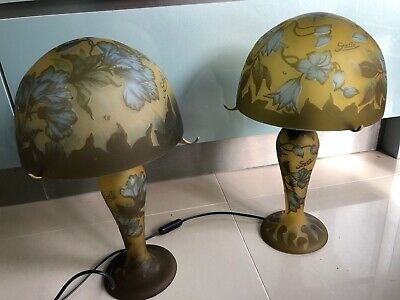 Vintage Late 20th Century Galle Overlaid Glass Table Lamp Fruiting Vines • 495£