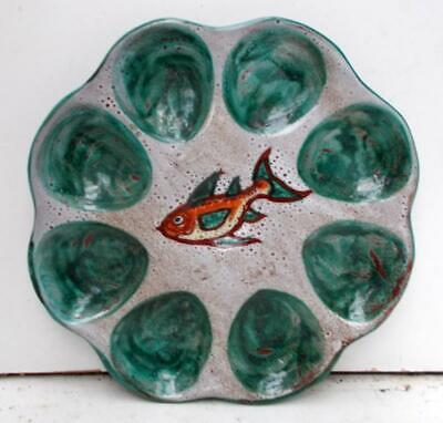 Vintage Retro Vallauris French Hand Painted Oyster Seafood Fish Plate • 24.99£