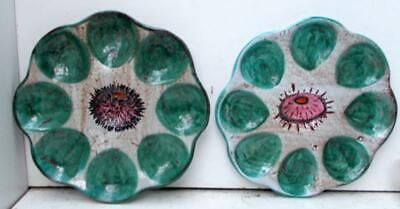 2 Vintage Retro Vallauris French Hand Painted Sea Urchin Oyster Seafood Plates!! • 34.99£
