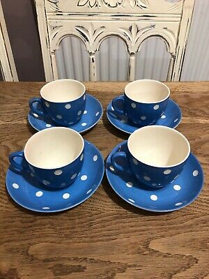 T G Green Blue Domino 4x Cups And Saucers • 34.99£