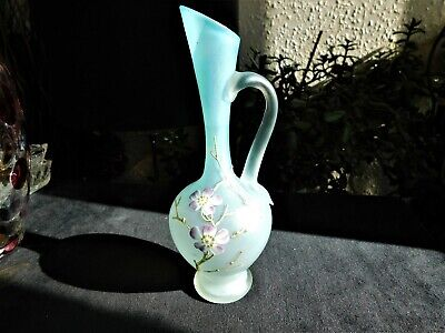 Vintage Opaque Aqua Blue Satin Glass Handpainted Oriental Blossom Design Jug 7  • 12.50£
