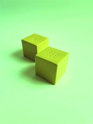 RETRO 60s / 70's - Vintage Carlton Ware Lime Green Cube Shaped Salt & Pepper Set • 15£