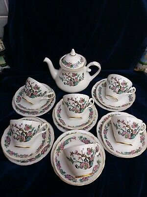 Vintage Indian Tree Design, Argyle  Fine Bone China 18 Piece Tea Set & Tea Pot • 32£