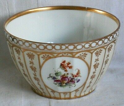 Dresden Style Hand Painted Slop Bowl Decorated With Flowers, Gilding And Flutes • 5£