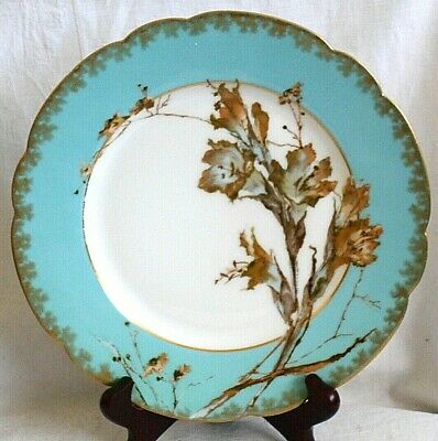 Late C19th Haviland Limoges Dish With Hand Painted Flowers On Blue Ground • 10£