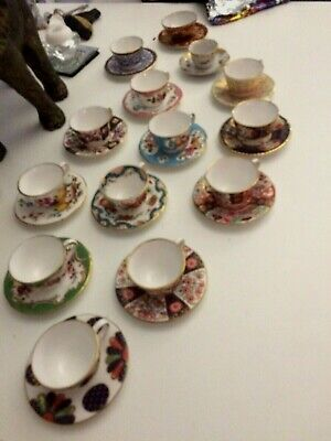 Royal Worcester Miniature Duo Cups And  Saucers- Full Series Of 12 With Certifs • 90£
