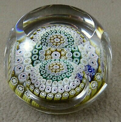 Whitefriars 1976 Millefiori Window Cut (faceted) Glass Paperweight • 95£