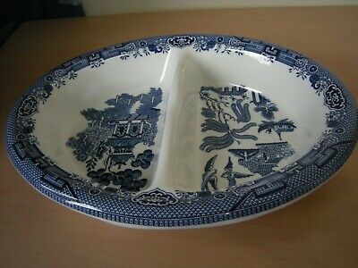 Rare Churchill  Willow  Pattern Divided Vegetable Dish.(has A Flaw On U/s Rim) • 8.99£