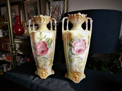 Pair Ornate Antique Gilded Blush Two Handle Vases Rich Old Pink Rose Design 8.5  • 30£