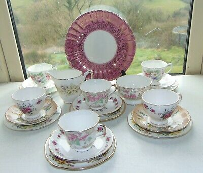 English China Mismatched 21PC Teaset Cups Saucers Plates Sugar Milk Cake Plate • 25£