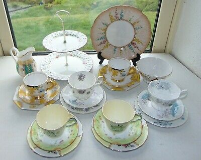 English China Mismatched 22PC Teaset Cups Saucers Plates Sugar Milk Cake Stand • 25£