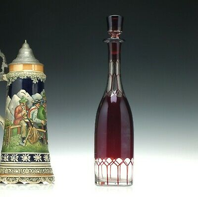 Tall 19th Century Ruby Glass Decanter C1860 • 115£