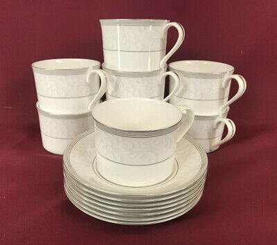 SPODE OPERA PLATINUM 8x LOW ACCENT TEACUPS + 7x SAUCERS - NEW/UNUSED Made In Eng • 9.99£