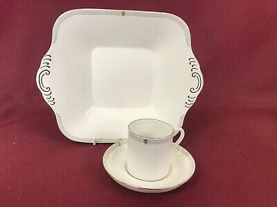 Spode Opera Platinum Square Handled Cake Plate + Coffee Cup/saucer - New/unused • 9.49£