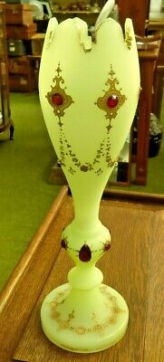 Antique Vaseline Glass Trumpet Vase Decorated With Gilt & Ruby Glass Beads • 55£