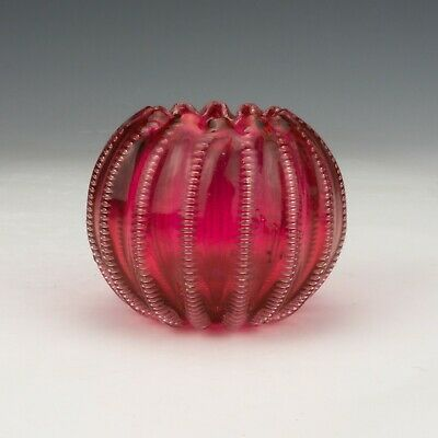 Antique Cranberry Glass Hand Blown Globe Vase With Textured Stripes • 23£