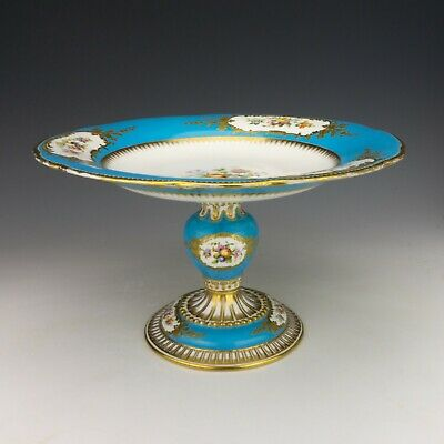 Antique English Porcelain - Hand Painted Flower & Turquoise Decorated Tazza • 33£