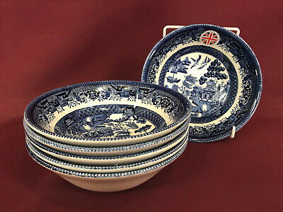CHURCHILL/QUEEN'S BLUE WILLOW 6x CEREAL BOWLS 15.5cm NEW/UNUSED 2nd Quality Dark • 4.99£